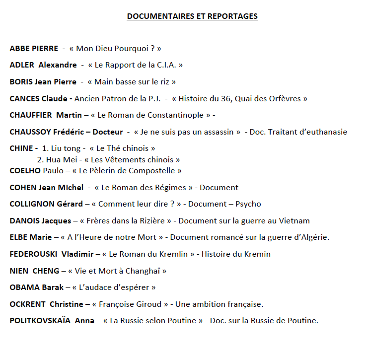 Documens et reportages